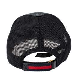 Gucci Grey/Black Kingsnake Print GG Supreme Canvas Baseball Cap L