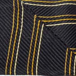 Gucci Black Striped Silk Fringed Scarf