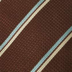 Gucci Brown Striped Waffle Patterned Cotton Silk Tie