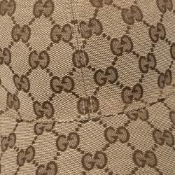 Gucci Beige Logo Monogram Web Stripe Detail Canvas Baseball Cap XL