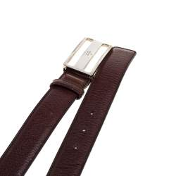 Gucci Brown Leather Cut Out Buckle Belt 100 CM