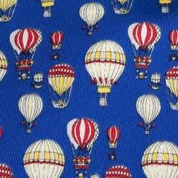 Gucci Blue Hot Air Balloon Print Silk Tie