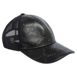 Gucci Black GG Embossed Leather Baseball Hat S