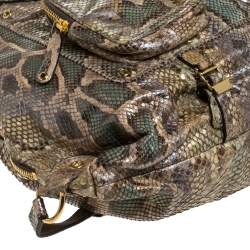 Gucci Beige/Green Python Large Darwin Convertible Backpack
