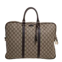 Gucci Beige/Brown GG Supreme Canvas and Leather Briefcase