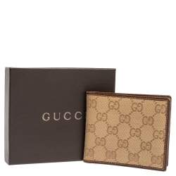 Gucci Beige/Brown GG Canvas and Leather Bi-fold Wallet