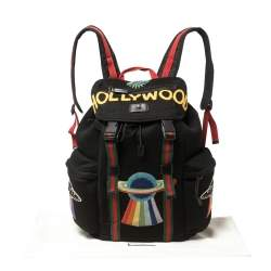 Gucci Black Mesh Fabric Hollywood Embroidered Backpack