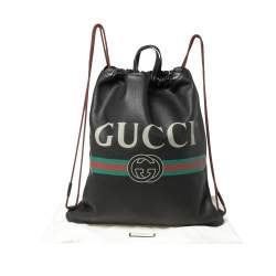 Gucci Black Soft Grain Leather Logo Drawstring Backpack