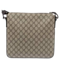 Gucci Ebony/Beige GG Supreme Canvas and Leather Messenger Bag