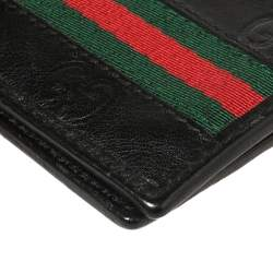 Gucci Black Guccissima Leather Web Bifold Wallet