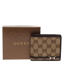 Gucci Beige/Ebony GG Canvas and Leather Horsebit Bifold Wallet