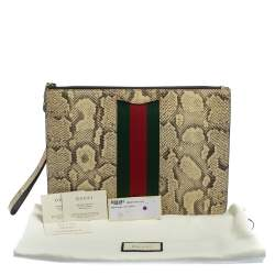 Gucci Beige Python Web Clutch Bag
