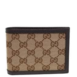 Gucci Beige/Brown GG Canvas and Leather Dollar Bifold Wallet