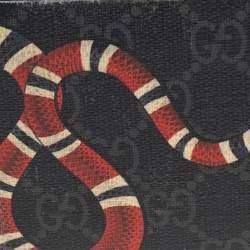 Gucci Grey GG Supreme Canvas Kingsnake Print Bifold Wallet