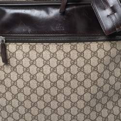 Gucci Brown/Beige GG Supreme and Leather Trim Suitcase