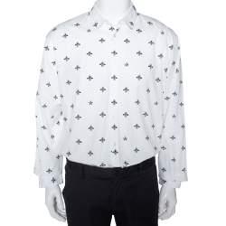 Gucci White Bee & Star Print Cotton Long Sleeve Duke Shirt 4XL