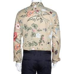 Gucci Beige Cotton Floral Print Duke Shirt XS