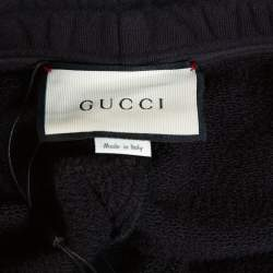 Gucci Black Knit Contrast Vertical Logo Print Track Pants M