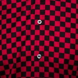 Gucci Red & Black Checkered Cotton Long Sleeve Slim Fit Shirt M