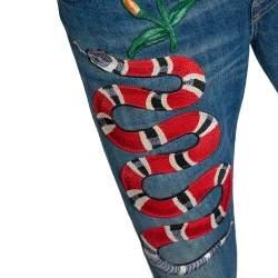 Gucci Blue Light Wash Denim Kingsnake Embroidered Skinny Jeans M