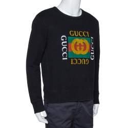Gucci Black Vintage Logo Print Cotton Distressed Effect Sweatshirt S