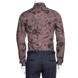 Gucci Deep Taupe Floral Print Cotton Skinny Fit Shirt XS