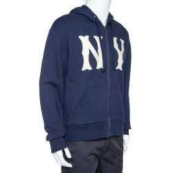 Gucci Navy Blue Cotton Yankees NY Patch Detail Hooded Sweatshirt S