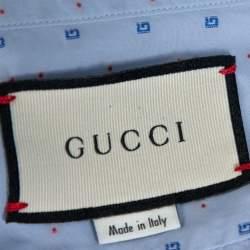 Gucci Liight Blue Cotton G Dot Fil Coupé Slim Fit Shirt XXL