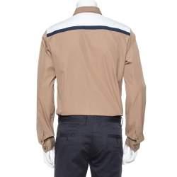Gucci Khaki Cotton Contrast Patch Long Sleeve Duke Shirt L