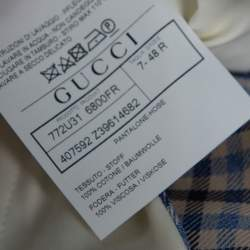 Gucci Blue Gingham Checked Cotton Tapered Trousers M