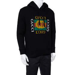 Gucci Black Cotton Rib Knit Logo Print Hoodie Sweatshirt M
