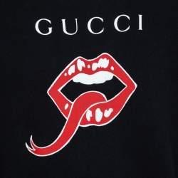 Gucci Black Mouth Print Jersey Sweatshirt S