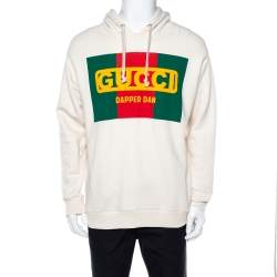 Gucci Cream Dapper Dan Logo Print Cotton Hoodie M