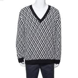 Gucci Monochrome Logo Intarsia Knit Oversized Jumper XL
