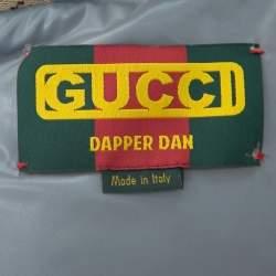Gucci X Dapper Dan Bicolor Leather Logo Monogram Embellished Varsity Jacket M