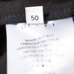 Gucci Black Gabardine Side Stripe Detail Stretch Trousers L