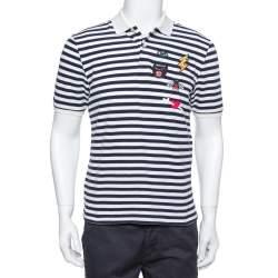Gucci Navy Blue & White Striped Pique Knit Polo T Shirt L