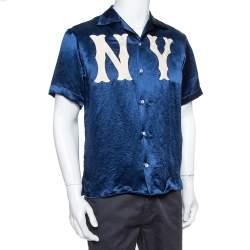 Gucci Navy Blue Satin New York Yankees Patch Bowling Shirt S