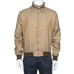 Gucci Brown Synthetic Logo Monogram Web Print Bomber Jacket M