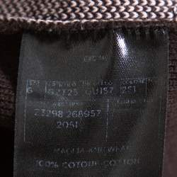 Gucci Brown Web Stripe Intarsia Knit Zipper Front Sweater M