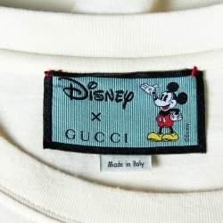 Gucci X Disney Cream Logo Printed Cotton Crewneck Oversized T-Shirt XXL