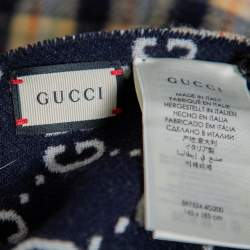 Gucci Navy Blue/Checkered  Logo Jacquard Wool Fringed Reversible Poncho (One Size)