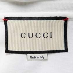 Gucci White Cotton Logo Printed Oversized Crewneck T-Shirt M