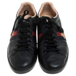 Gucci Black Leather Ace Web Bee Low Top Lace Up Sneakers Size 39.5