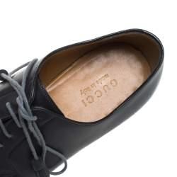 حذاء غوتشي أكسفورد رباط شراريب جلد أسود مقاس 44.5
