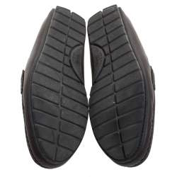 Gucci Dark Brown Micro Guccissima Leather Slip On Loafers Size 44