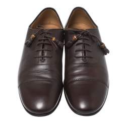 Gucci Dark Brown Leather Oxfords Size 42.5