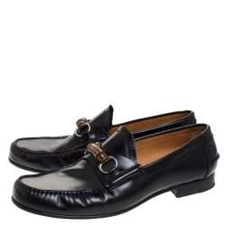 حذاء لوفرز غوتشي هورسبيت بامبو جلد أسود مقاس 45