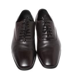 حذاء الأكسفورد غوتشي رباط علوي جلد بني داكن مقاس 42.5