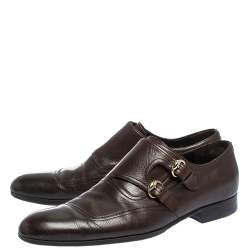 Gucci Brown Leather Double Buckle Monk Strap Oxfords Size 40